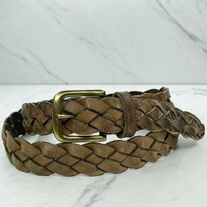 Brown Braided Woven Genuine Leather Belt Size 38
